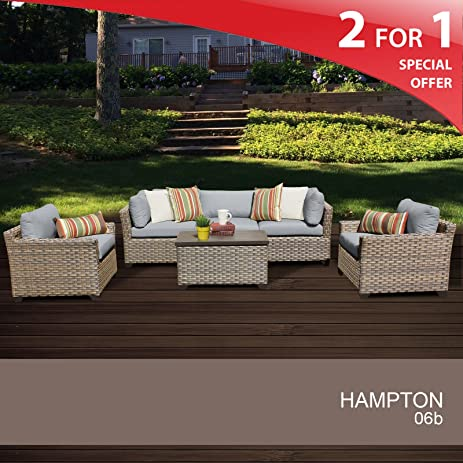 Hampton 6 Piece Outdoor Wicker Patio Furniture Set 06b