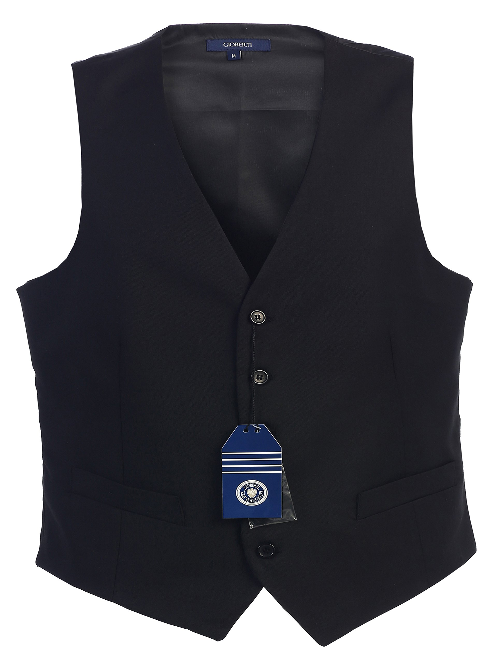 Gioberti Mens 5 Button Formal Suit Vest, Black, X-Large by Gioberti