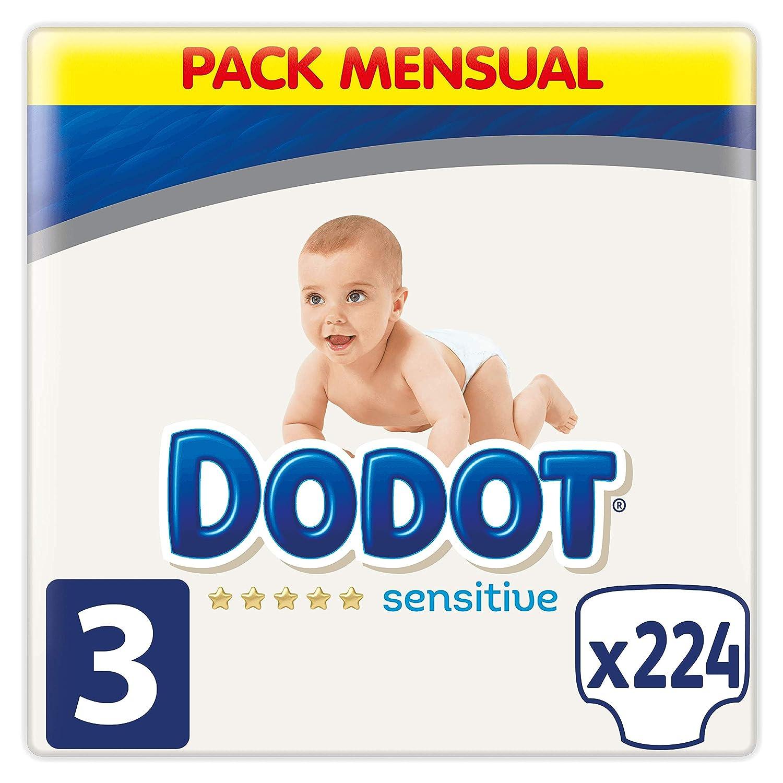 Dodot Sensitive - Pañales Talla 3, 224 Pañales, 6-10 kg