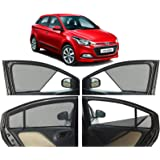 Autofact Half Magnetic Window Sunshades for Hyundai Elite I20 Set of 4pc - Front 2pc Without Zipper, Rear Full with Zipper (Black)