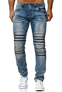 ArizonaShopping Herren Jeans Slim Fit Biker Hose Denim Used Stonewashed 689e68ae75