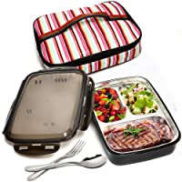 BOQUN Stainless Steel Bento Box Removable 3 Compartments Rectangular Lunch Box Leakproof Food Storage Containers with Insulated Bag and Fork Spoon Kit, Microwave Dishwasher Safe