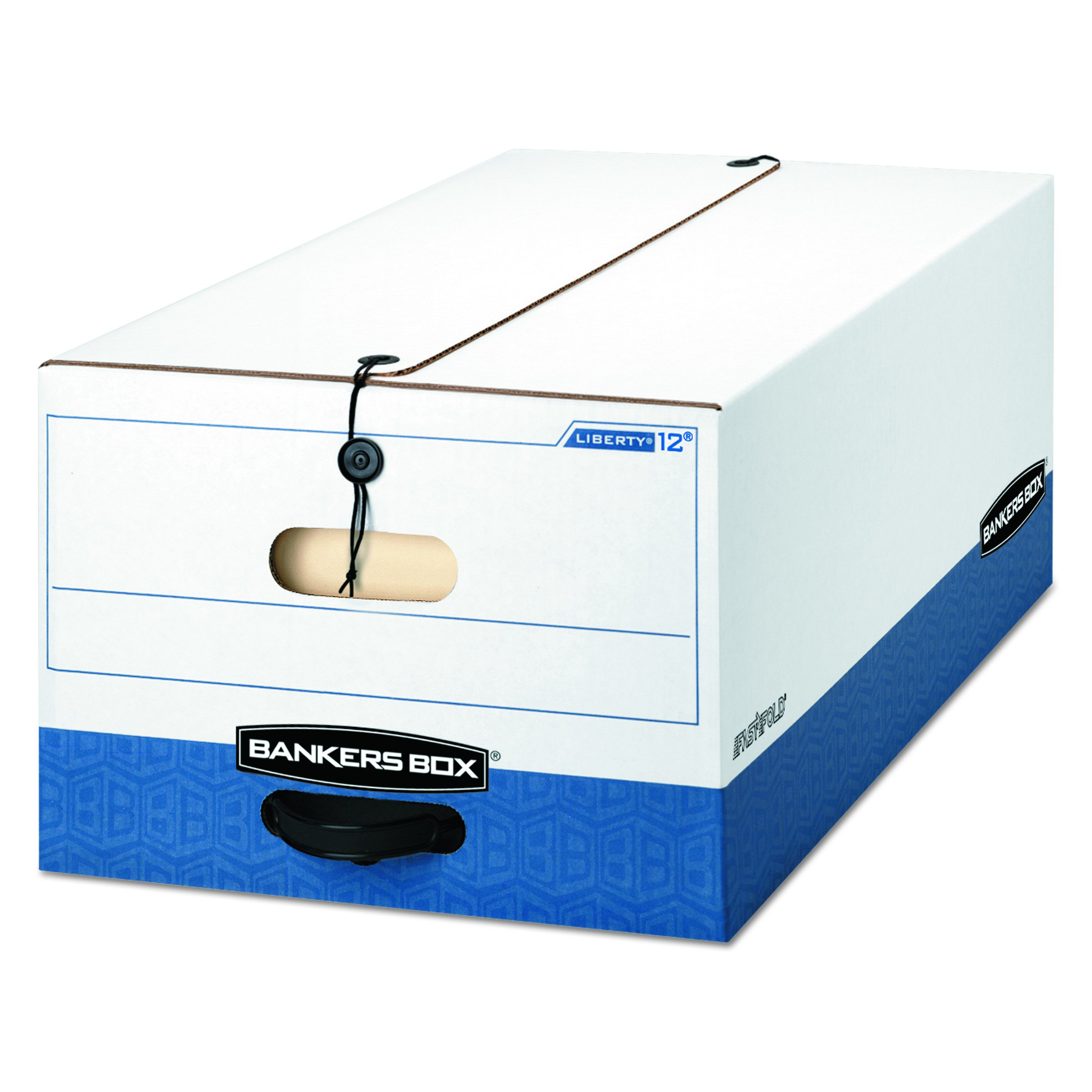 Bankers Box 00012 LIBERTY Heavy-Duty Strength Storage Box, Legal, 15 x 24 x 10, White/Blue (Case of 12)