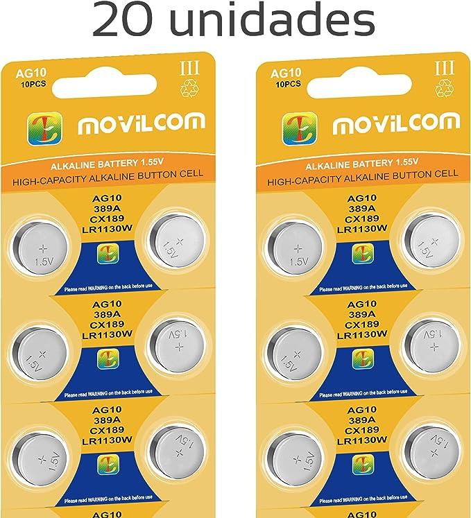 Movilcom 20 Knopfzellen Ag10 Uhrenbatterien 1 5 V Elektronik