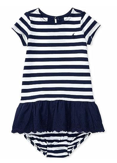 df4b6660 Amazon.com: RALPH LAUREN Baby Girls Striped Eyelet Dress ...