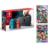 Nintendo Switch console Rouge Néon/Bleu Néon 32Go + Mario Kart 8 Deluxe + Splatoon 2 - Megapack