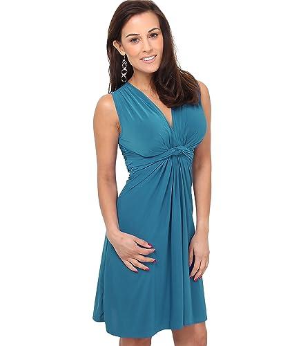 KRISP Women's Casual Sleeveless V Neck Knot Front Summer Dress US 4-16