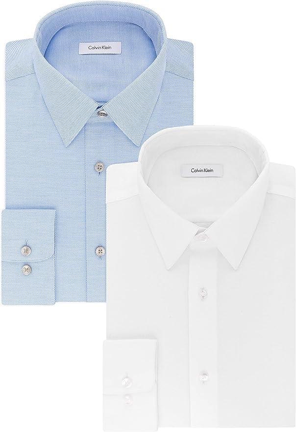 Calvin Klein 卡尔文克莱因 CK 免熨 男式长袖衬衫*2件 2.5折$39.98 海淘转运到手约¥307