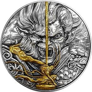 2020 NU Modern Commemorative PowerCoin Monkey King Vs Erlang God Mythology 2 Oz Silver Coin 5$ Niue 2020 Antique Finish
