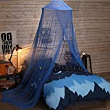 Jeteven Mosquito Net Fly Star Princess Dome Bed Canopy for Kids Indoor/Outdoor Decorative Height 250cm/98.42in Dark Blue