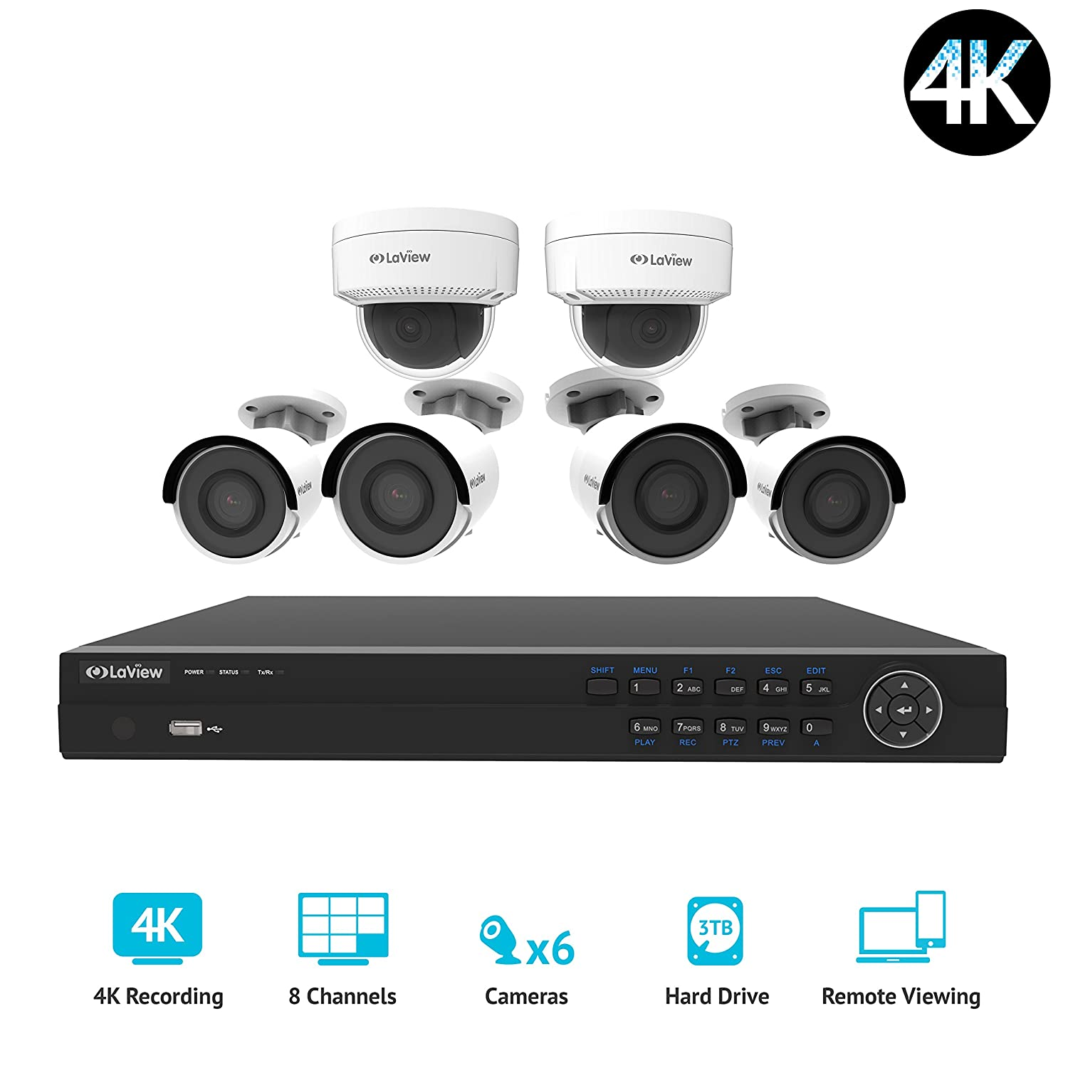 LaView LV-KNG968E86G8D8-T3 HD 8 Channel 4K Business Home NVR Security System W 4 Indoor Outdoor Bullet 2 Indoor Outdoor Dome IP POE Surveillance Cameras HD 100ft Night Vision 2TB HDD, 2 TB 4K
