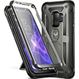 Galaxy S9 Case, YOUMAKER Heavy Duty Protection Kickstand with Built-in Screen Protector Shockproof Case Cover for Samsung Galaxy S9 5.8 inch (2018 Release) - Gun Metal/Black