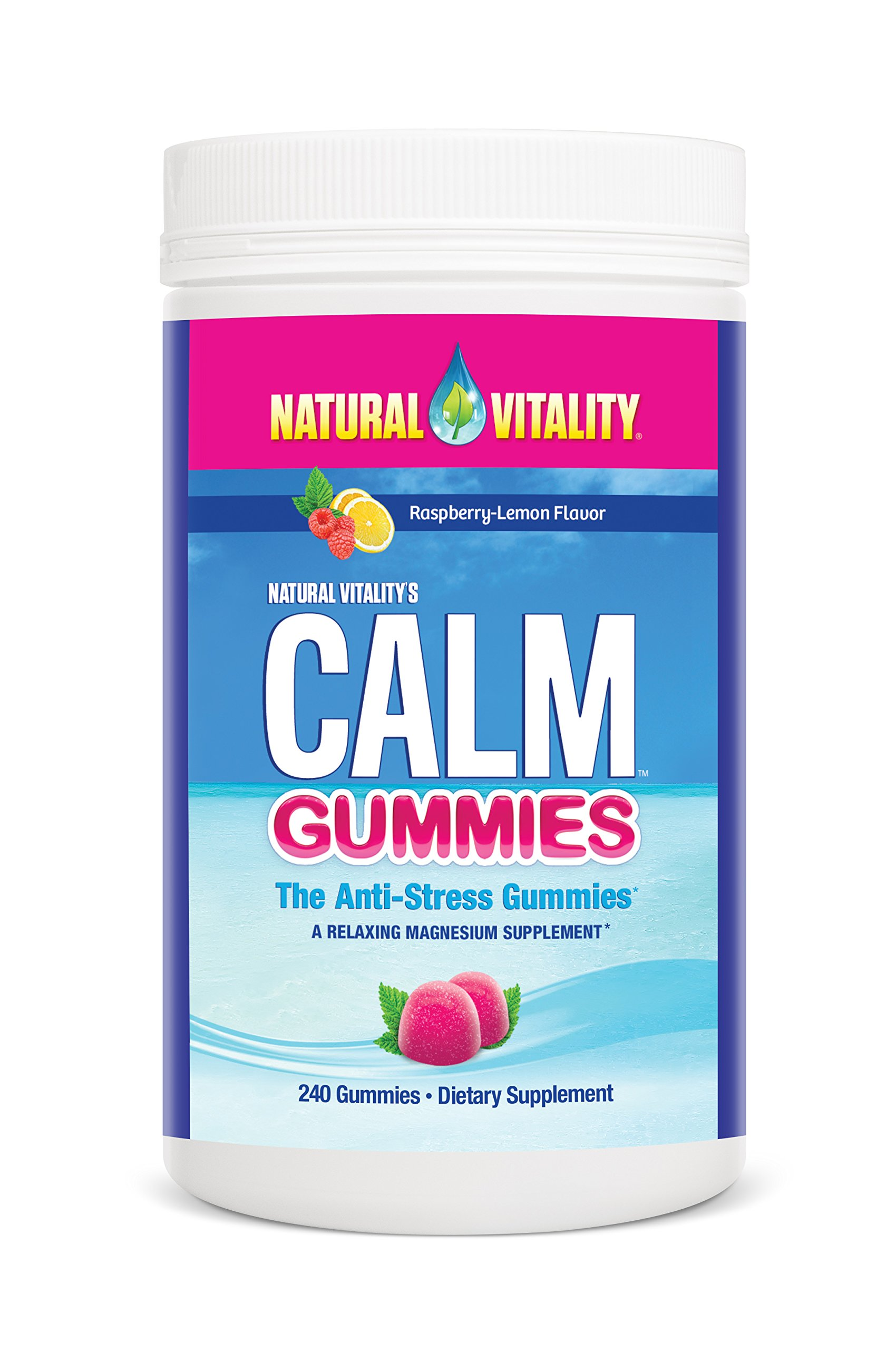 Natural Vitality CALM Gummies the Anti-Stress Gummies, A Relaxing Magnesium Supplement - 240 ct Raspberry Lemon