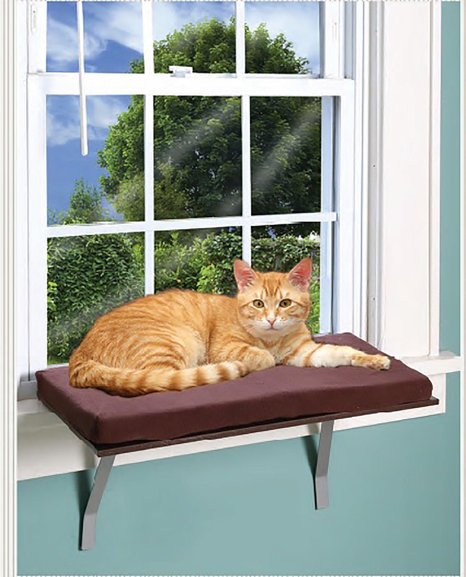 Foam Cushion Deluxe Kitty Window Perch With Fleece Cover