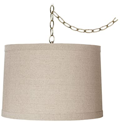 Linen Drum 16 Wide Antique Brass Plug-in Swag Chandelier