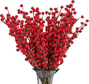 Joyhalo 24pack Christmas Red Berries Stems Artificial Berry Picks for Christmas Tree Ornaments Crafts Holiday Home Decor (12.6inches/32cm)