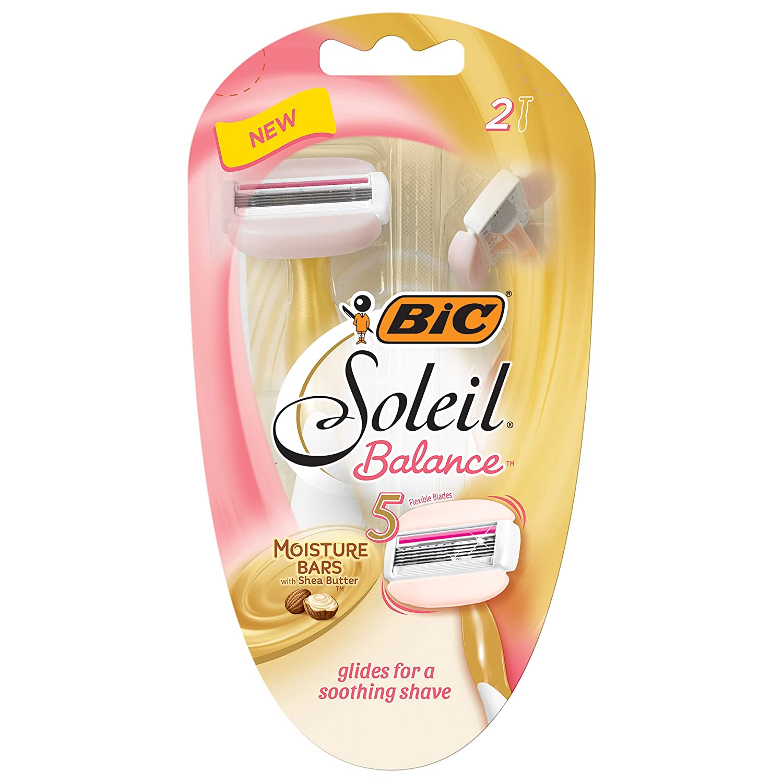 BIC Soleil Balance Women's 5-Blade Disposable Razor, 2 Count