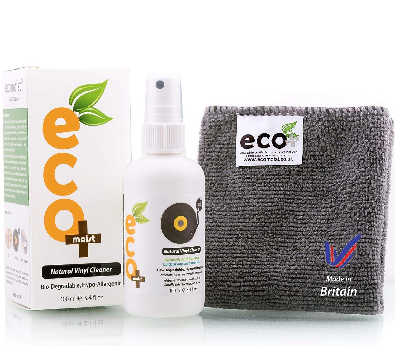 Ecomoist Kit de limpiador de Vinilo 100 ml con toalla de microfibra Fine, Producto fabricado en el Reino Unido. Color verd: Amazon.es: Oficina y papelería