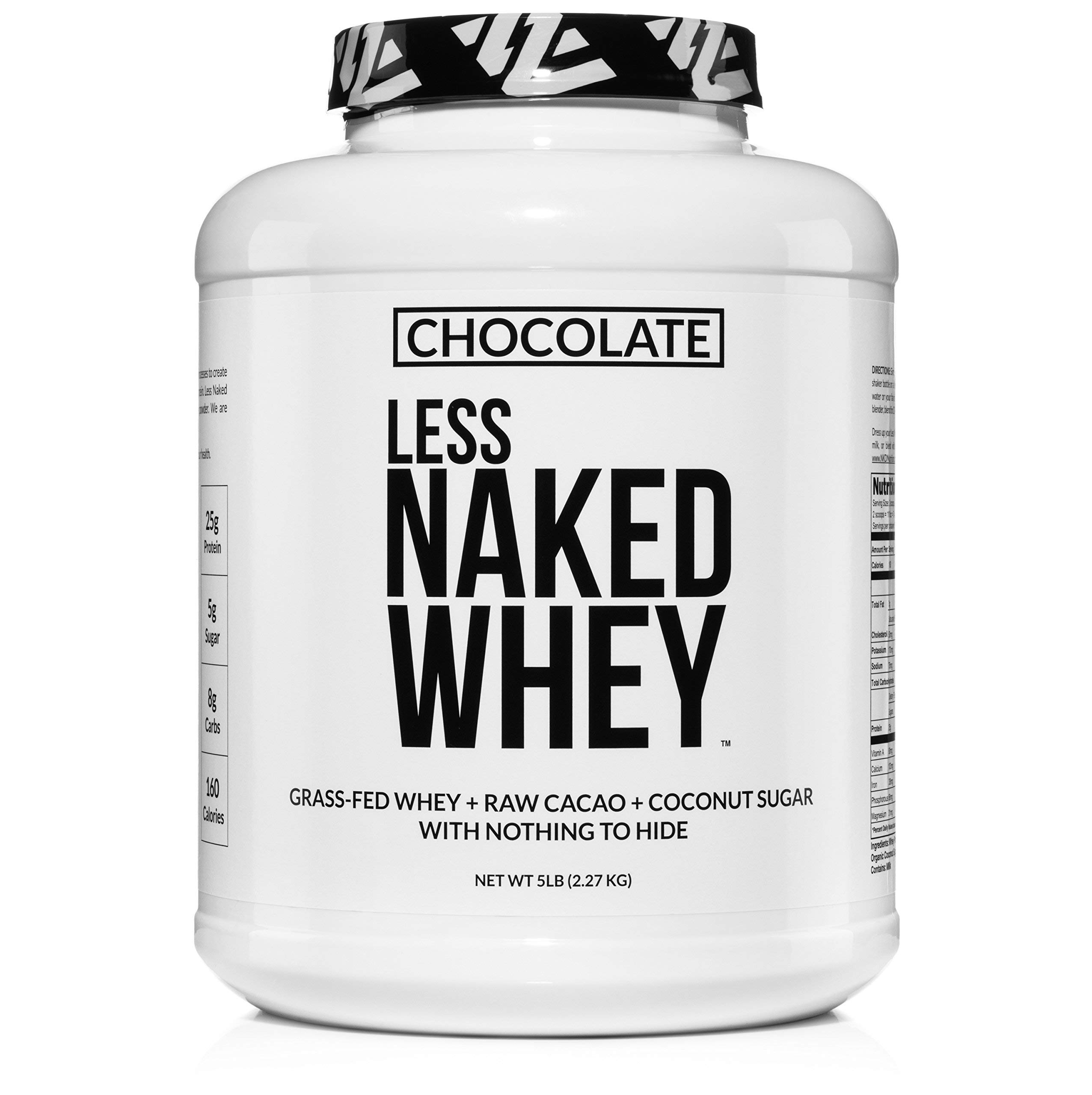 Less Naked Whey Chocolate Protein - All Natural Grass Fed Whey Protein Powder, Organic Chocolate, and Coconut Sugar 5lb Bulk, GMO Free, Soy Free, Gluten Free Aid Muscle Growth and Recovery 60 Servings by NAKED nutrition