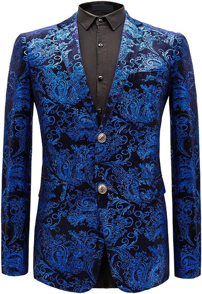OUYE Men's Luxury Blue Casual Sport Coat