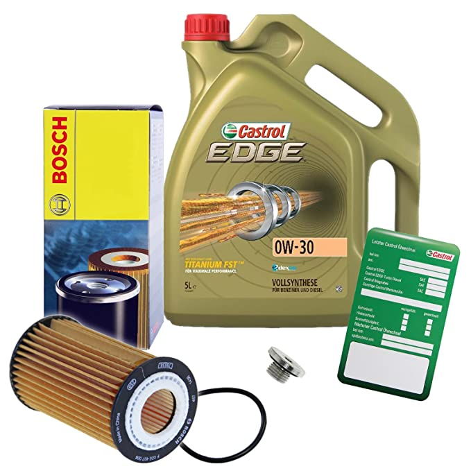1 x Set de aceite - BOSCH aceite + 5 l Castrol Edge Titanium FST 0 W-30 Longlife: Amazon.es: Coche y moto