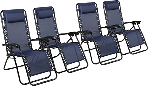 Naomi Home Zero Gravity Chairs, Lounge Patio Outdoor Recliner Chairs Navy Set of 4