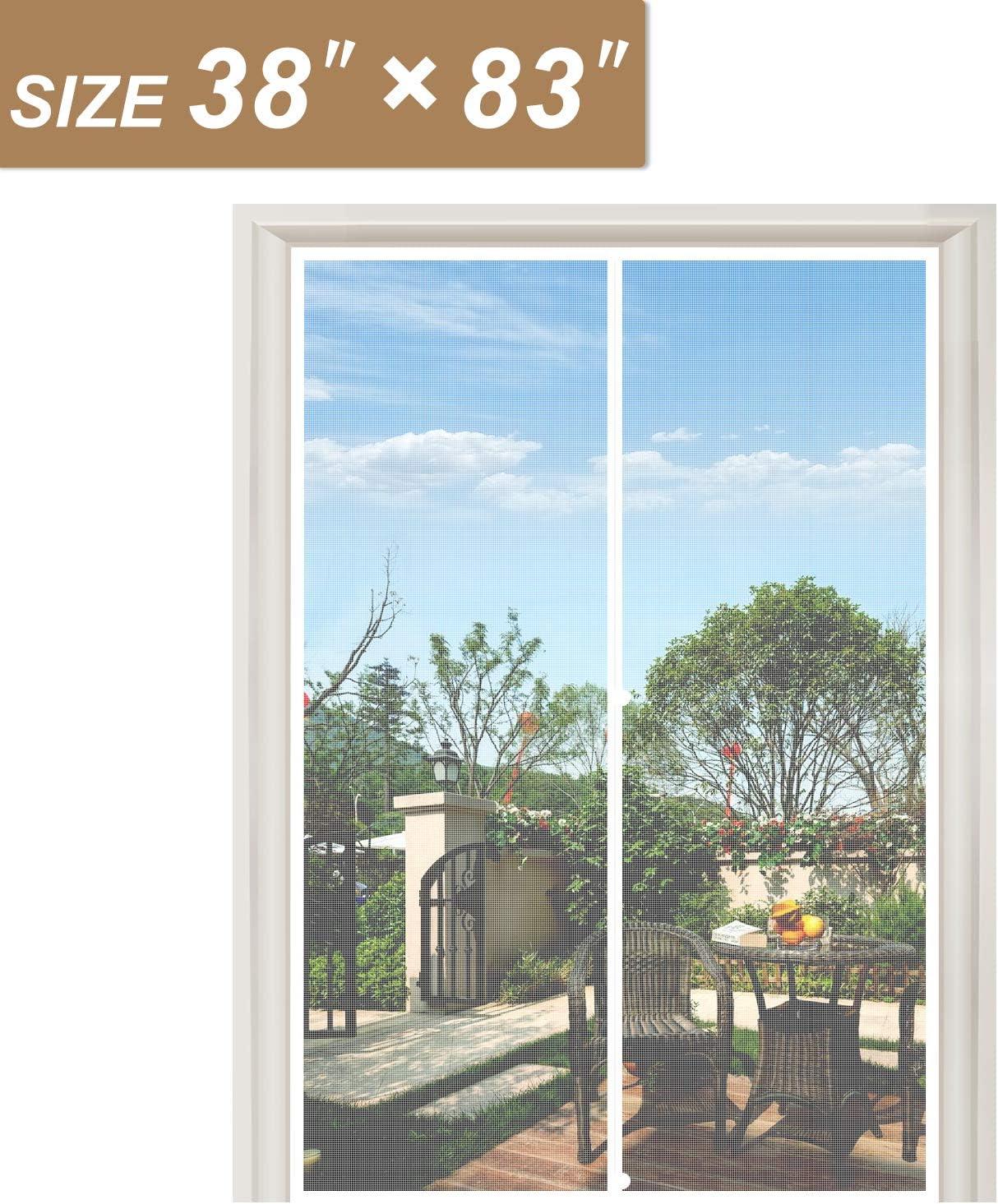 Puerta de pantalla magnética blanca de 38 x 83, pantalla de puerta francesa de malla de fibra de vidrio con imanes para puertas de hasta 38 pulgadas de ancho x 83 pulgadas