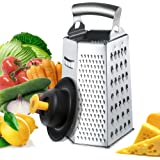 Zestkit Box Cheese Grater Stainless Steel with Silicone Hand Guard Set for Parmesan, Ginger, Vegetable (6 Sided)
