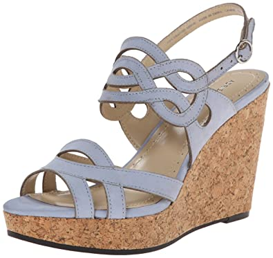 Adrienne Vittadini Footwear Womens Camber Wedge Sandal Adriatic Blue Size 95