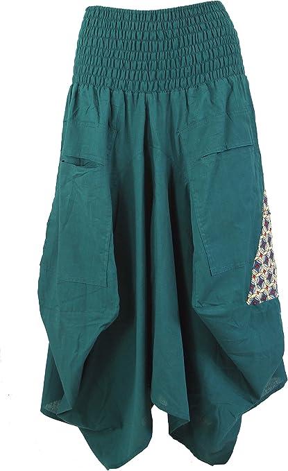 GURU-SHOP, Falda Hippie Falda Pantalón Aladin Falda, Azul, Algodón ...