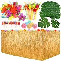 PP OPOUNT 109 Pieces Hawaiian Party Decoration Set with Table Skirt, Palm Leaves, Hawaiian Flowers, Multicolored…