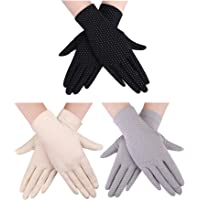 Boao 3 Pairs Women Sun Protective Gloves UV Protection Summer Sunblock Gloves Touchscreen Gloves for Driving Riding