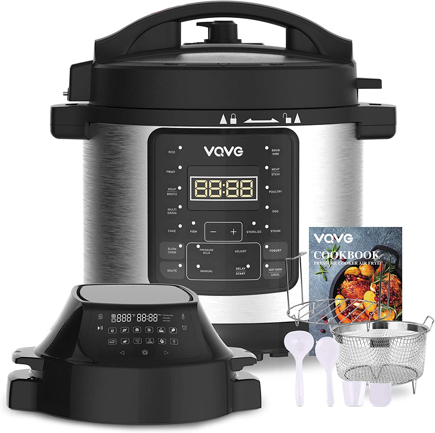 Pressure Cooker and Air Fryer, Steamer, Slow Cooker, Multi-Cooker, and More, VQVG Air Fryer Pressure Cooker Combo, Two Detachable Lids, Dual Control Panel, 6 QT for Home, Included Basket Rack Recipe Book
