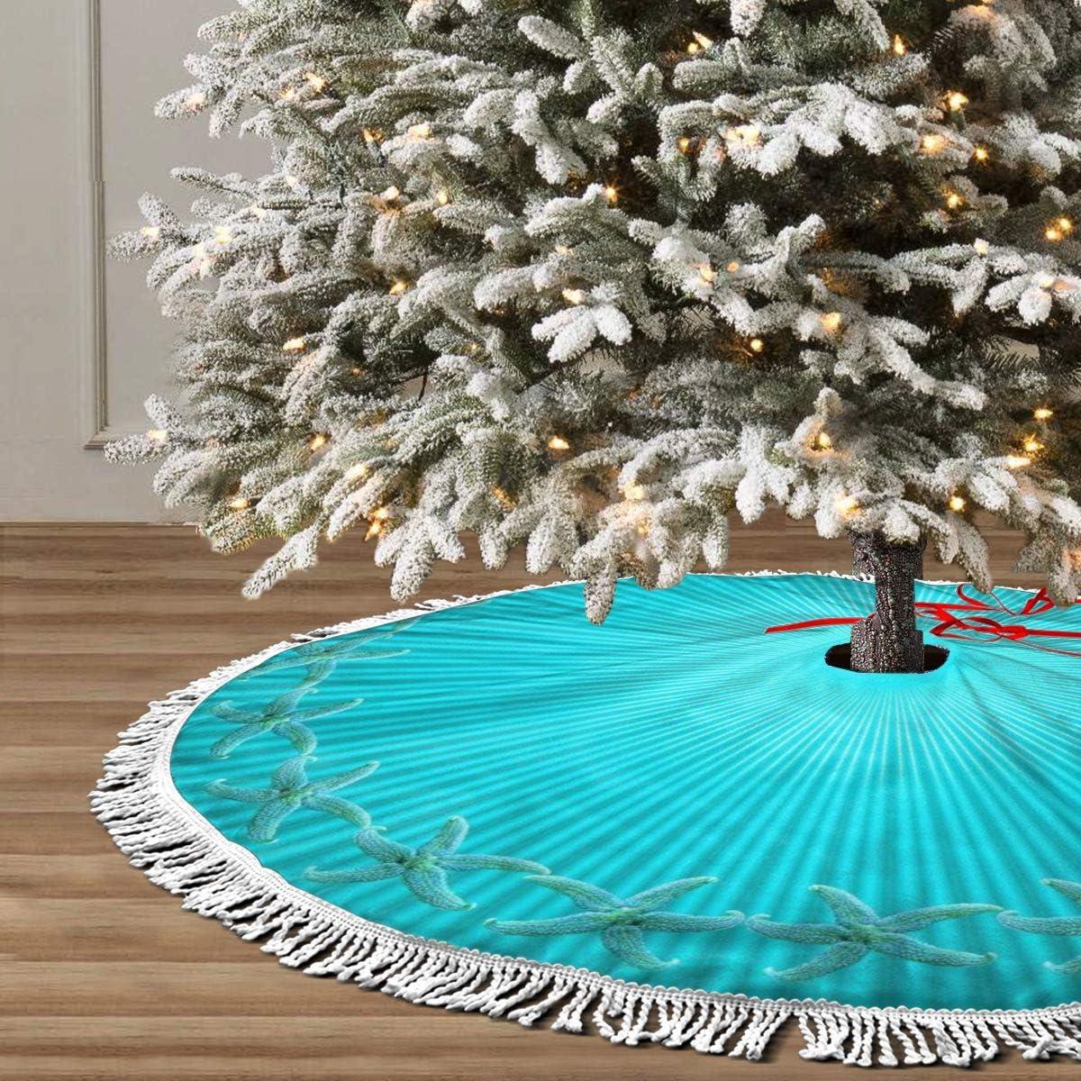 30 Inch 1950S Cartoon Christmas Tree Skirt Tree Skirt Ornaments with Tassel Edges Tassel Edges