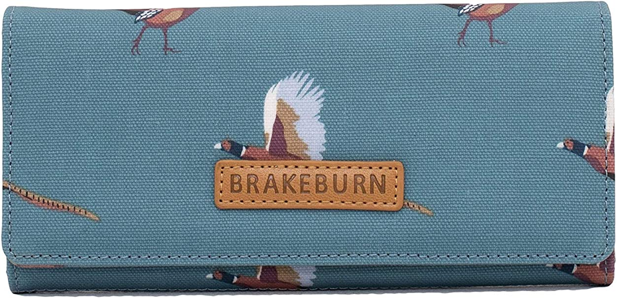 Brakeburn Blossom Purse Fold over Floral Birds Blue Wallet Card compartment Coin