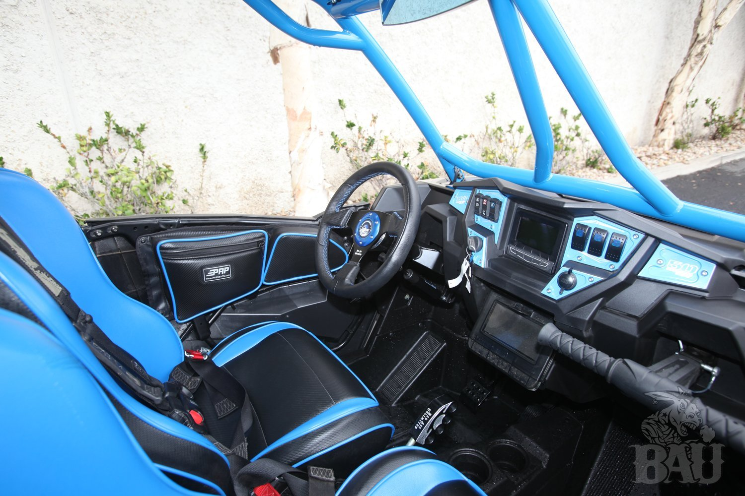 Polaris RZR XP 1000 Black Leather Steering wheel black stitch by Bad Ass Unlimited (Image #4)