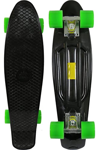 Skateboard (Black Deck w/Green Wheels)