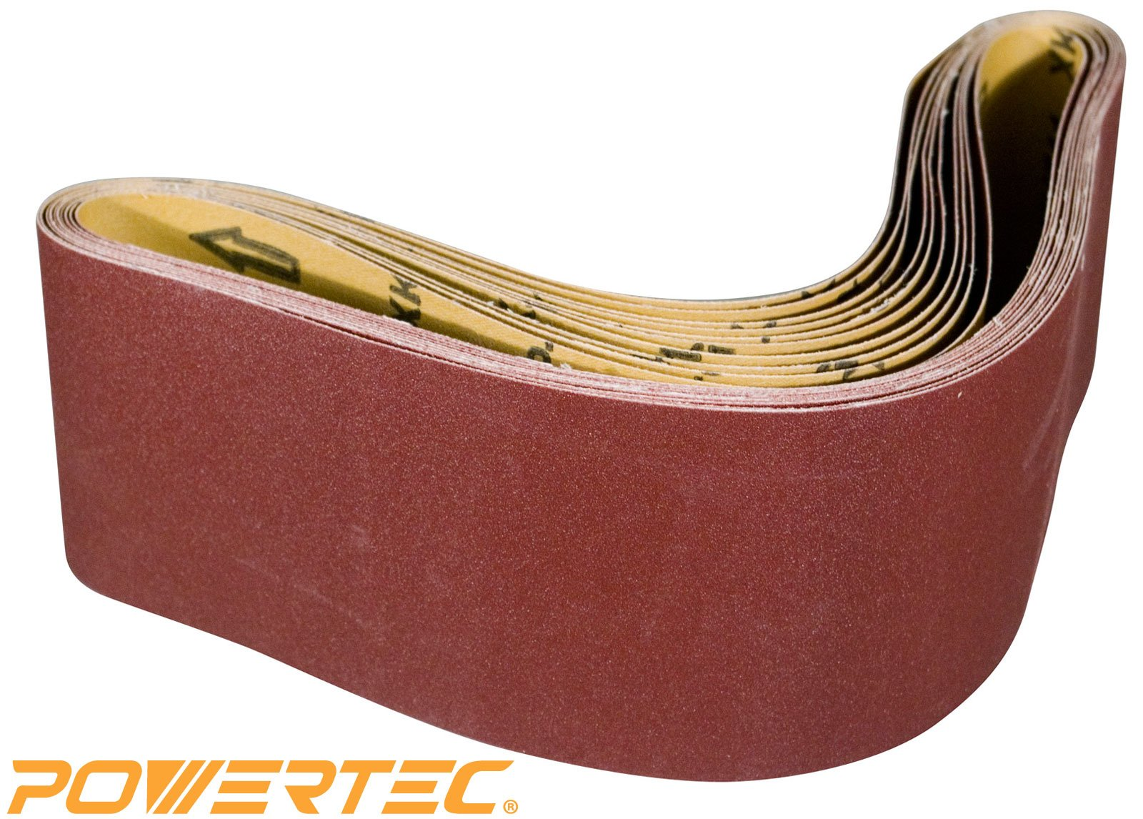 POWERTEC 110180 6-Inch x 48-Inch 100 Grit Aluminum Oxide Sanding Belt, 10-Pack