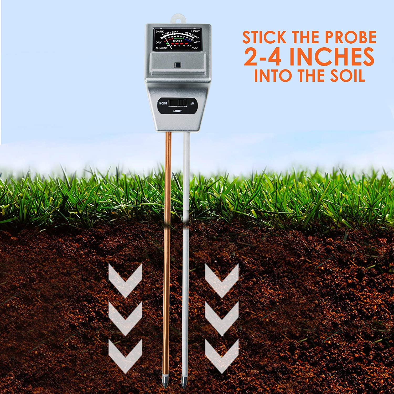Moisture and Light Meter Tester for Home Lawn Garden DANOPLUS 3-in-1 Soil Test Kit pH Farm Healthy Growth of Plants Indoor//Outdoor Testing Plus Free Pouch