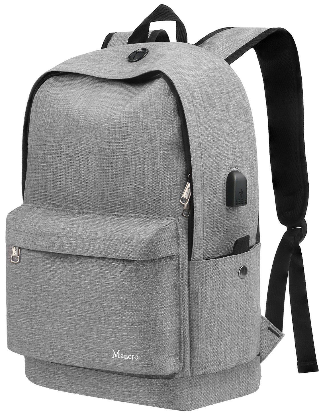 Middle School Backpack, Anti Theft College Student Bookbag w/USB Charging for Teen Girl Boy Men Women, Canvas Water Resistant Computer Daypack For Weekend Travel Outdoor Camping Fit 15.6'' Laptop,Grey