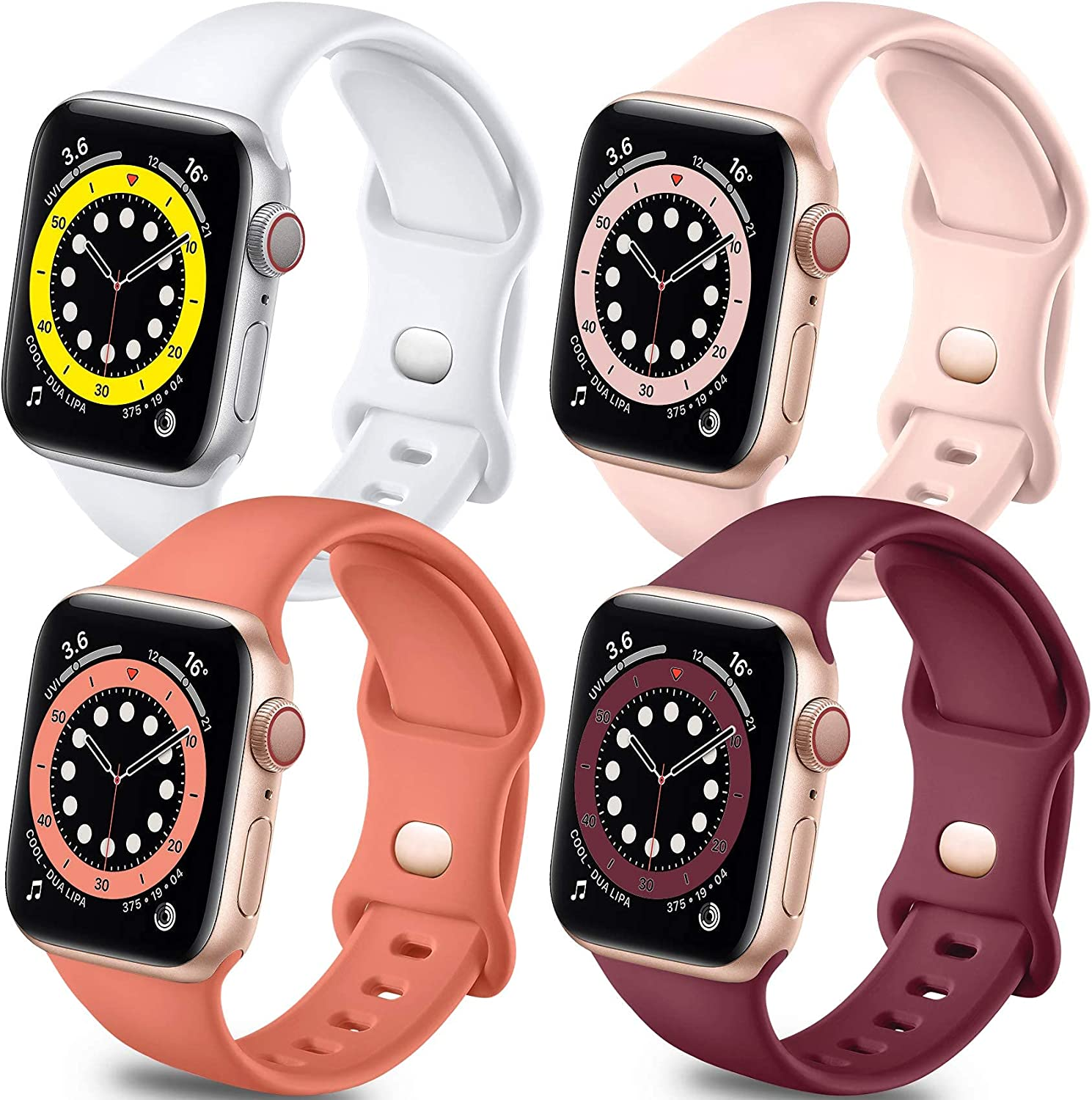 Getino Bands Compatible with Apple Watch Band 40mm 38mm, Soft Silicone Sport Replacement Band for iWatch SE & Series 6 5 4 3 2 1 Women Men, 4 Pack, White, Pink Sand, Wine Red, Coral, M/L