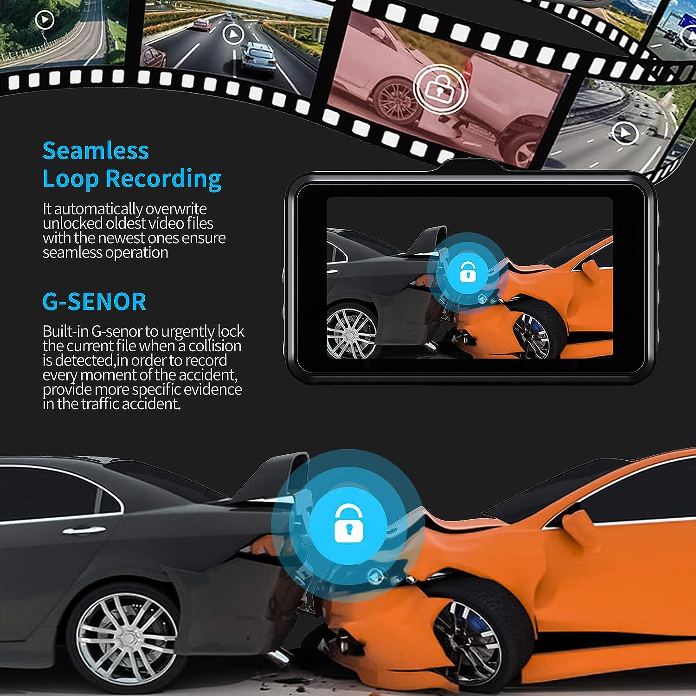 Dash Cams for Cars Front and Rear Full HD 1080P Backup Car Camera,3 inch Dashboard Camera with Night Vision,170/°Wide Angle,G-Sensor,Parking Monitor,Loop Recording Upgrade Lens