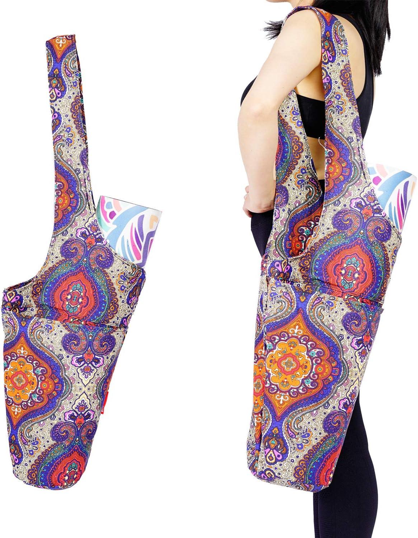 Aozora Yoga Mat Bag Fits Most Size Mats Yoga Mat Tote Sling Carrier with Large Side Pocket /& Zipper Pocket