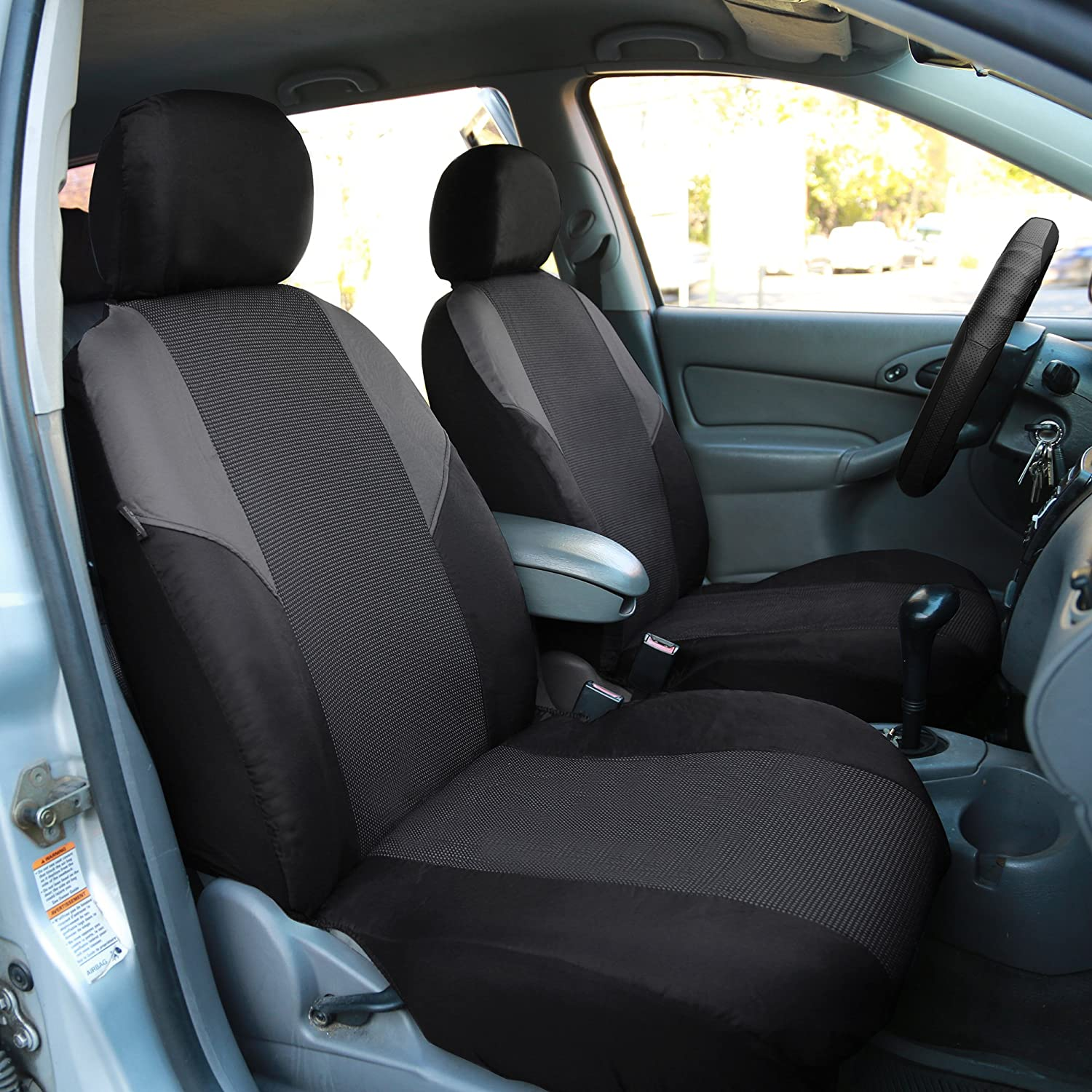 Truck Black-Universal Car or Van FH Group Gray-Half FB064GRAY102 Cross Weave Fabric Pair Set Seat Covers SUV Airbag Compatible