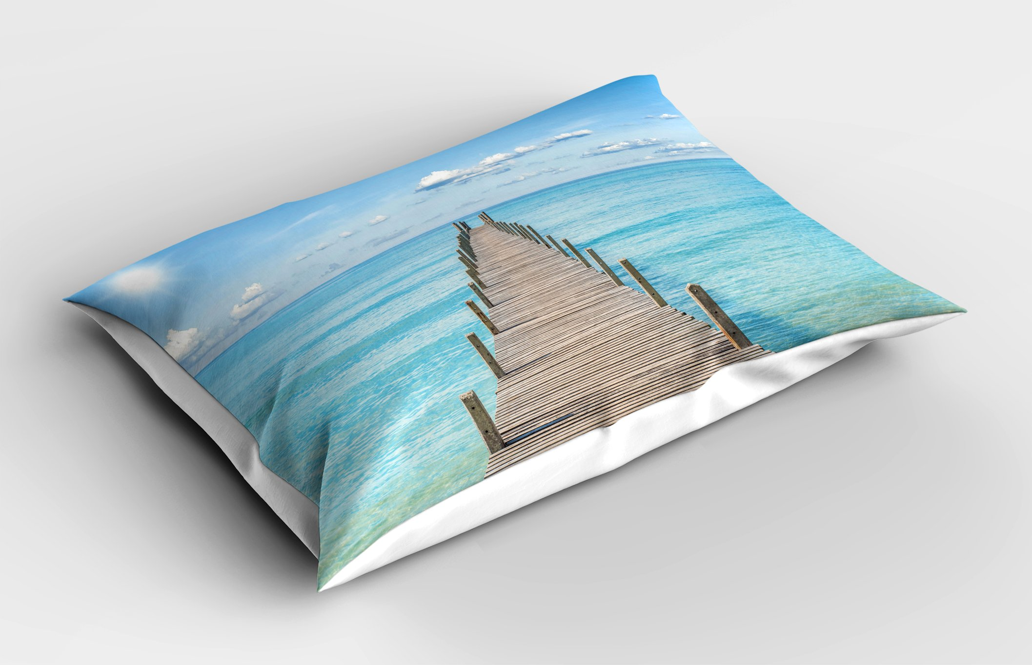 Lunarable Landscape Pillow Sham, Wood Pier Deck in Asian River Sky and Sun Summer Travel Theme Art Print, Decorative Standard King Size Printed Pillowcase, 36 X 20 inches, Blue Brown White by Lunarable (Image #2)