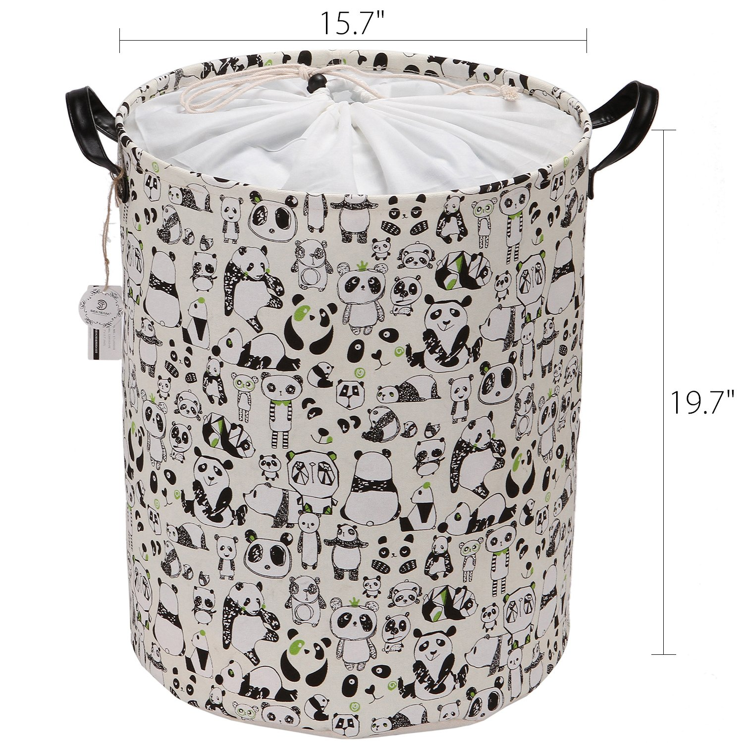 Sea Team 19.7'' Large Size Stylish Panda Design Canvas & Linen Fabric Laundry Hamper Storage Basket with Premium PU Leather Handles for Kid's Room, Drawstring Cover with Waterproof Coating by Sea Team (Image #2)