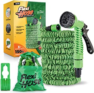 Flexi Hose 150 Foot Expandable Garden Hose with 8 Function Spray Nozzle - Durable Brass Fittings for Leak-Proof and Kink-Free Garden Hose - Extra-Strength, Flexible, Lightweight