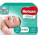 Huggies Infant Nappies, Unisex, Size 2 (4-8kg), 48 Count