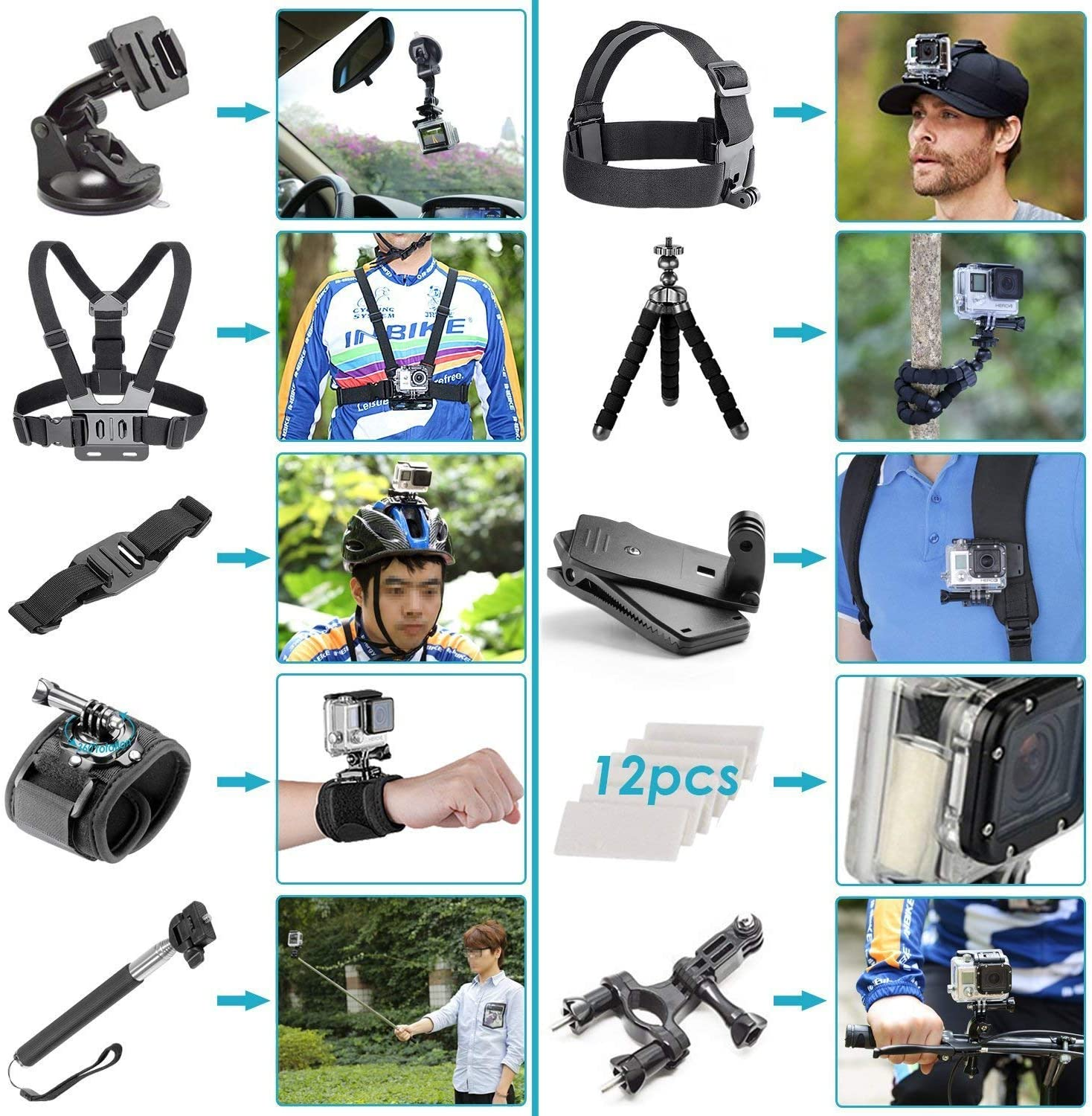 GoPro HERO8 50 Piece All You Need Accessories Bundle