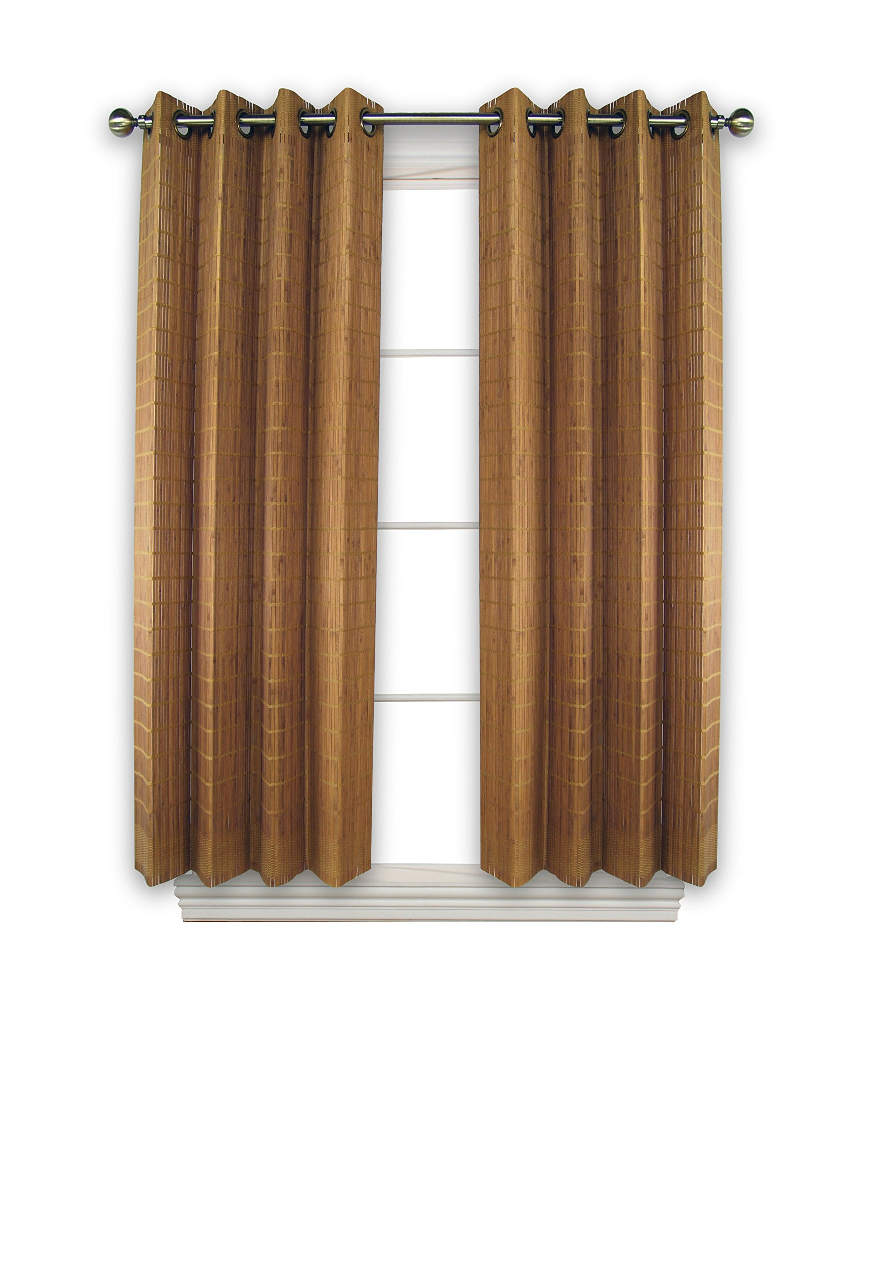 Versailles Home Fashions BPU144263-9 Bamboo Wood Curtain Panel with Grommets, 42'' x 63'', Teak